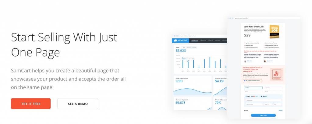 Samcart  Landing Page Software Discount Price  2020